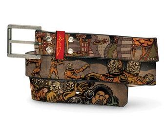 Zombies In Space Belt, Womens Belt, Mens Belt, Zombie Belt, Zombie Leather Belt, Leather Belt Zombie, Handmade Leather Belt