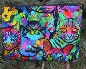 Cat zippered bag, make up bag, accessory bag, Painted Cats, The Scooter