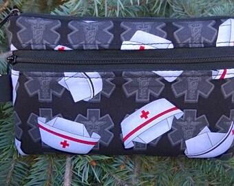 Nurse mini wallet, purse organizer, wristlet, Nurses Caps, iPhone purse,  Sweet Pea
