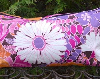 Floral flat bottom bag, flat bottom pouch for Mah Jongg tiles, knitting notions pouch, Summertime!,  The Large Zini Deluxe