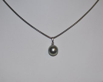 Tahitian Pearl Pendant on Sterling Silver Oxidized Chain