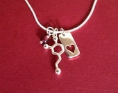dopamine heart and garnet Valentine's Day Necklace