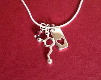 dopamine heart and garnet Valentine's Day Necklace
