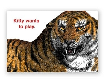 Kitty Wants to PlayAre - Magnet - Humor - Gift - Stocking Stuffer - Tiger