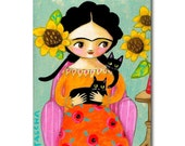 Frida with two Black Cats painting ORIGINAL acrylic painting of Frida Kahlo with her cat folk art by TASCHA