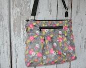 iPad Purse Kindle Handbag - Shoulder Bag Purse - Fast Shipping - Padded Electronics Tablet Pocket MEDIUM HOBO BAG Dutch Floral  Fabric