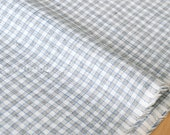 Japanese Fabric - yarn dyed small gingham - grey, blue - 50cm