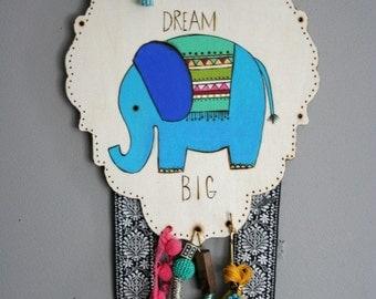 OOAK Elephant painting WALL HANGING Nursery Art Baby shower teen gift Room Decor tassels wooden plaque wood burned wood burning