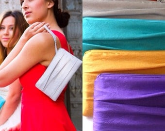 "Pleated Bridesmaid Clutch- Envelope Clutches- Available in up to 32 Colors- Size 4""x 8"""
