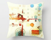Abstract Watercolor, Pillow Cover, Watercolor Pillow, Abstract Art Pillow, Orange Peach Aqua, Throw Pillow, Art Pillow Cover, Pastel Pillow
