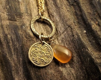 Carnelian and Celtic Spirals Charm Necklace