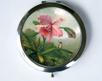 Orchid Humming Birds Compact Mirror Pocket Mirror flowers