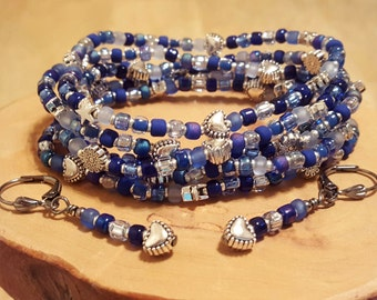 Shaded Sapphire blue stretchy seed bead bracelets with free bonus earrings SIZE SMALL 6 1/2 inches
