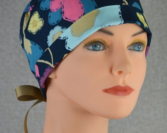 Surgical Scrub Hat or Chemo Cap- The Mini with Ribbon Ties- Full Bloom