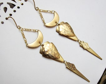 Geometrics, Figure II - Golden Raw Brass Geometry Chandelier Earrings
