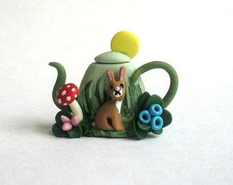 Handmade Miniature Bunny Rabbit in Garden Teapot by C. Rohal