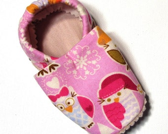 Winter Owls Soft Soled Baby Shoes 12-18 mo