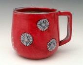 Handmade Ceramic Mug Porcelain Mug Floral Pattern Pottery Cup 15 oz mug