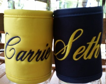 Set of 2 personalized insulated coozies - Can or Bottle Wraps