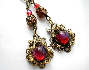 Dragons Breath Opal Dragonfly Earrings Mexican Fire Opal Earrings