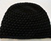 "20"" Black Beanie Hat, Cap, 100% Soft Acrylic, Handmade Cross Stitch Crochet, Girl, Teen, Adult Woman, large"