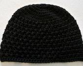 "20"" Black Beanie Hat, Cap, 100% Soft Acrylic, Handmade Cross Stitch Crochet, Girl, Teen, Adult Woman, large"