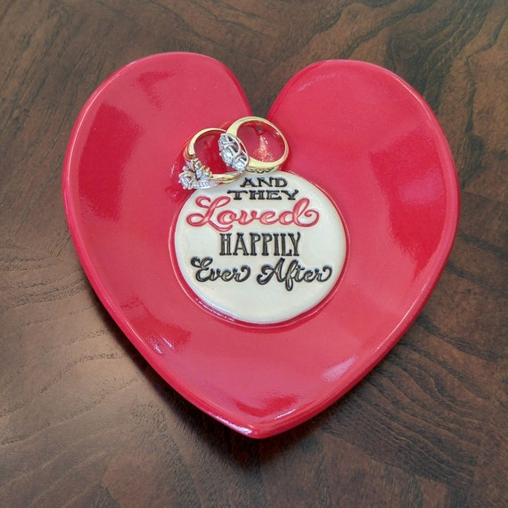 Handmade Pottery - Summer Wedding - Inspirational Gift - Ceramic Dish - Stoneware - Red Heart Dish - Couple Gift - Anniversary - Ring Dish
