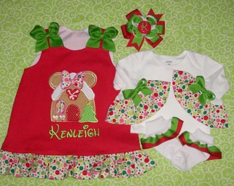 Red Minnie Mouse Gingerbread House Applique Monogram Dress with Michael Miller Santa Play Dot Ruffle - Christmas - Vacation