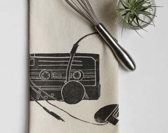On SALE and READY to SHIP! Tape and Headphones Handmade Block Printed Tea Towel-100% cotton towel