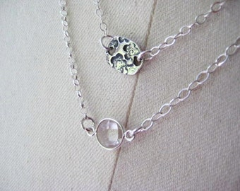 Long Chain Necklace, Crystal Charms, Artisan Connectors, Sterling Silver, Faceted Crystals, Long Necklace, candies64
