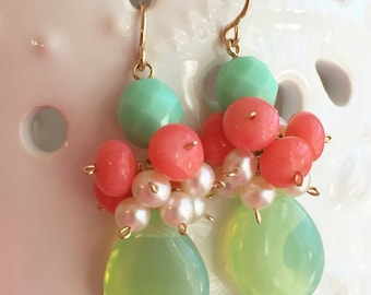 Confetti Cluster Earrings, Freshwater Pearls, Aqua, Mint and Coral Glass Beads on 14K Gold Filled Ear Wires, Handmade