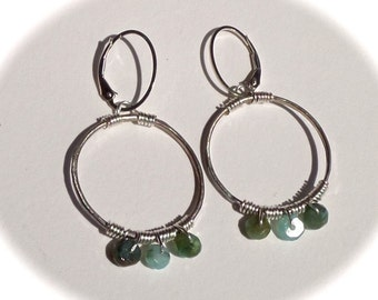 Peruvian Opal and Sterling Wrapped Loop Earrings .925 Lever Backs
