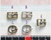 10 pcs - Tiny Mini Metal Antique Brass / Nickel Color Belt Buckle Doll / Shoes Supplies