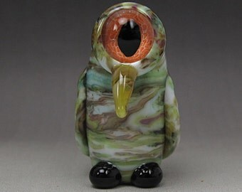 Handmade Lampwork Glass Alien Focal Bead by Jason Powers SRA