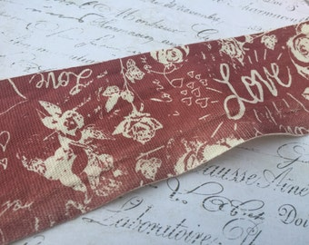 Linen Red and Natural Printed Valentine Love Ribbon 2.5 inch wide