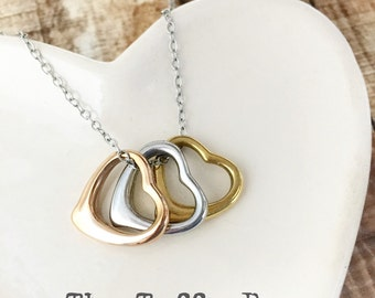 Mixed Metals Floating Heart Necklace