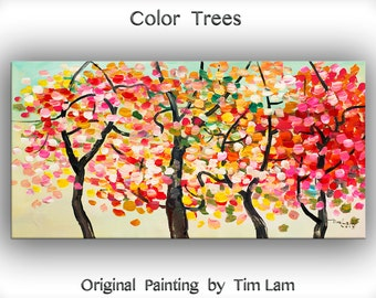 "Tree Painting Changing Season Woodland Modern Art  Original 48"" landscape painting acrylic painting on canvas by tim lam"