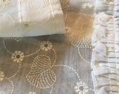 Eyelet Curtains -Window Treatment -  Organdy Organza - White - Two Panels w Valance - Vintage Curtains NOS NIP - Sheer Curtains