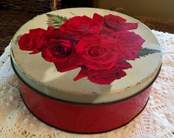 Red Roses Tin - Colorful - Large Candy Tin 1940s -1950s