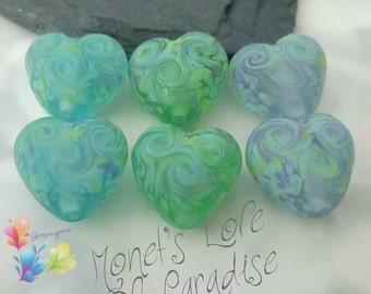 Lampwork Beads Monet's Love Of Paradise Hearts