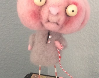 Pink Pumpkin and pet  Ooak hand needle felted artdoll