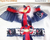 SALE 10% OFF Handmade Wedding Garter Set with Houston Texans fabric Keepsake and Toss with Marabou Pouf