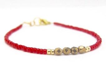 Red Bracelet, Seed Bead Bracelet, Friendship Bracelet, Valentine Bracelet, Holiday Jewelry, Beaded Bracelet, Layer Stacking, Hawaii Jewelry