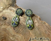 Druzy Earrings with Paua shell, Peridot and Lapis Lazuli