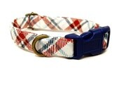 Farmhouse - White Red Navy Blue Mint Plaid Rustic Country Organic Cotton CAT Collar Breakaway Safety - All Antique Brass Hardware
