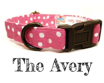 "Light Pink White Polka Dot Dog Collar - Organic Cotton - Antique Brass Hardware - ""The Avery"""