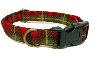 Christmas Tartan - Organic Cotton CAT Collar Breakaway Safety - Red Green Plaid - All Antique Brass Hardware