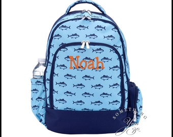 Monogrammed Backpack in Finn Fish Pattern, Boys School Bookbag, Personalized School Bags for Boys, Fishing pattern, kids kindergarten bags
