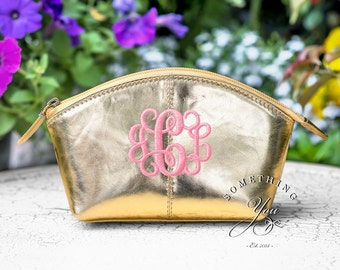 Gold Monogrammed Small Leather Cosmetic Bag Personalized Leather makeup case monogrammed bridesmaids bags natural leather make up metallic