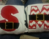 Santa Belt Letter Embroidered and Monogrammed Tshirt or Bodysuit with  Applique Christmas